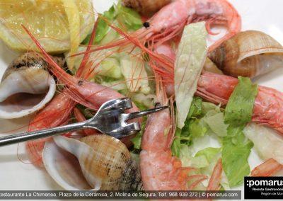 Quisquilla hervida de Santa Pola con caracolas de mar