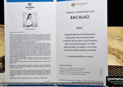 Tarjeta de la Jornada Gastronómica del Bacalao en Restaurante Hispano