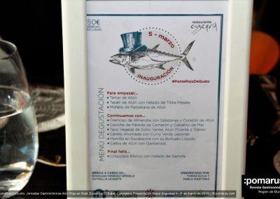 Carta del menu degustación