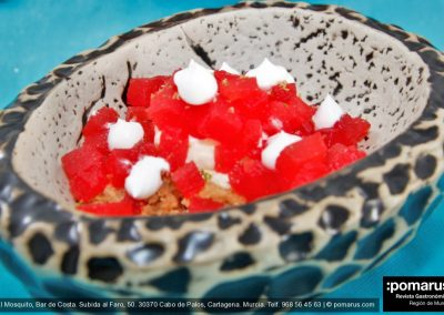 Trampantojo de tartar de atún rojo: Postre de sandía
