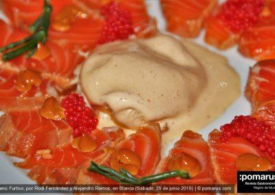 Tataki de salmón con mahonesa de soja / Espumoso, cava Mestres Coquet Gran Reserva Brut Nature, Bodega Celler 1312